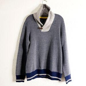 Banana Republic Toggle Neck Blue Cozy Knit Sweater
